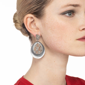 Pave Checkerboard Post Drop Earring