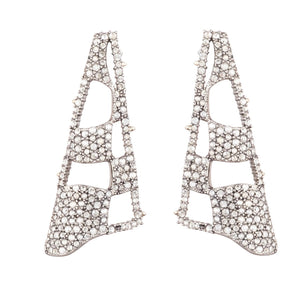 Pave Checkerboard Fan Post Earring