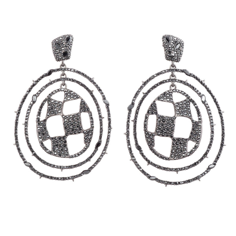 Pave Checkerboard Orbiting Post Earring