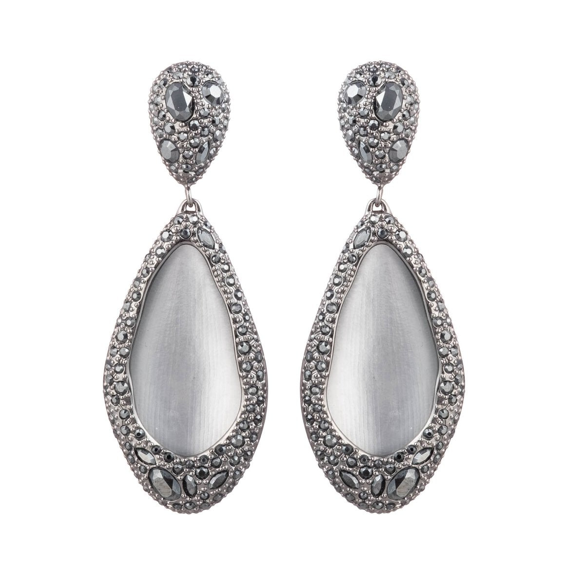 Crystal Encrusted Tear Drop Clip Earring