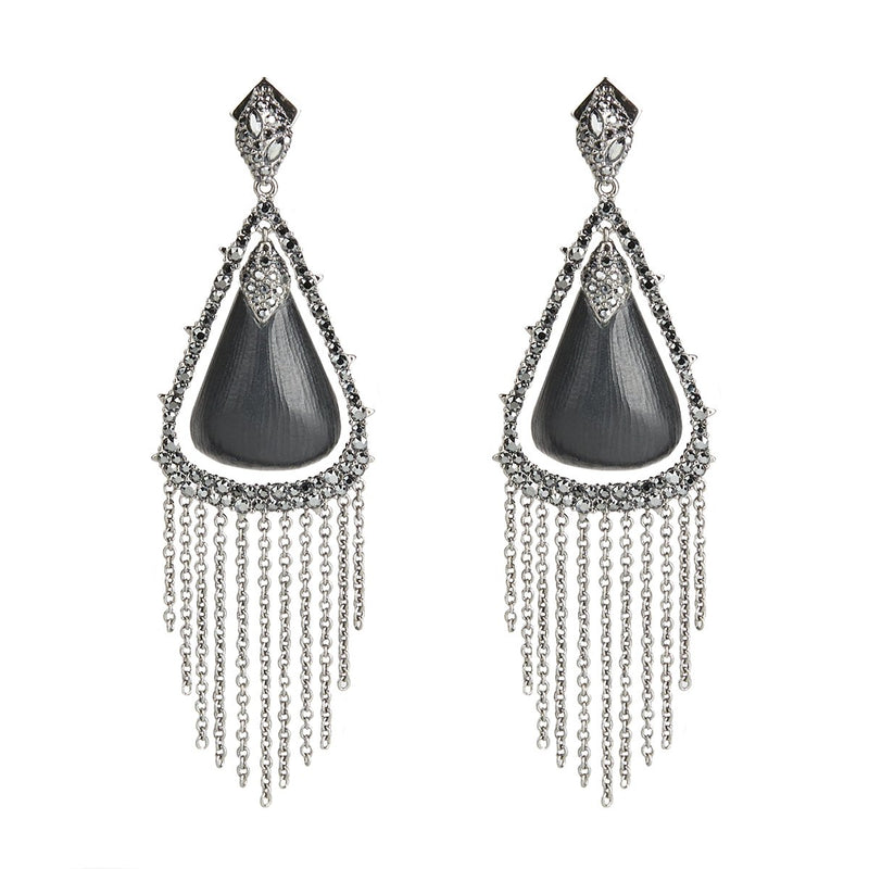 Crystal Capped Tassel Chain Post Earring