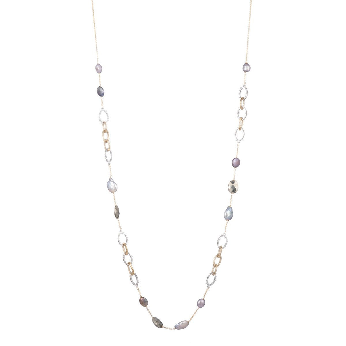 Mesh Chain Link Stone Station Necklace