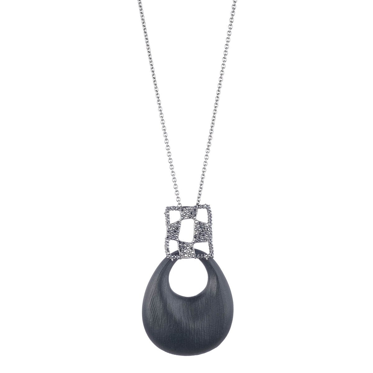 Pave Checkerboard Large Link Pendant Necklace