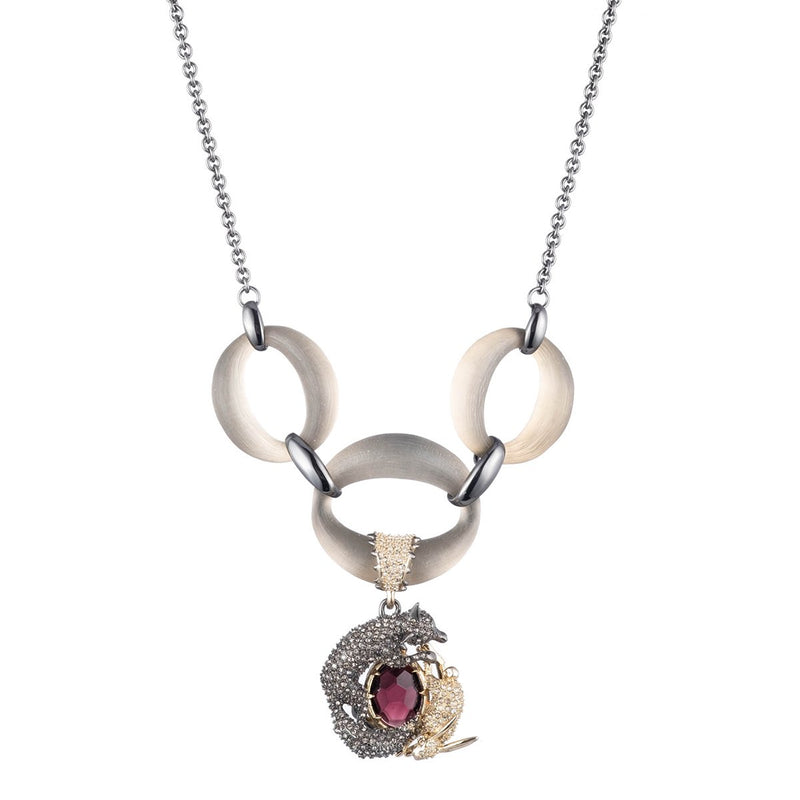 Pave Fox and Hare Link Necklace
