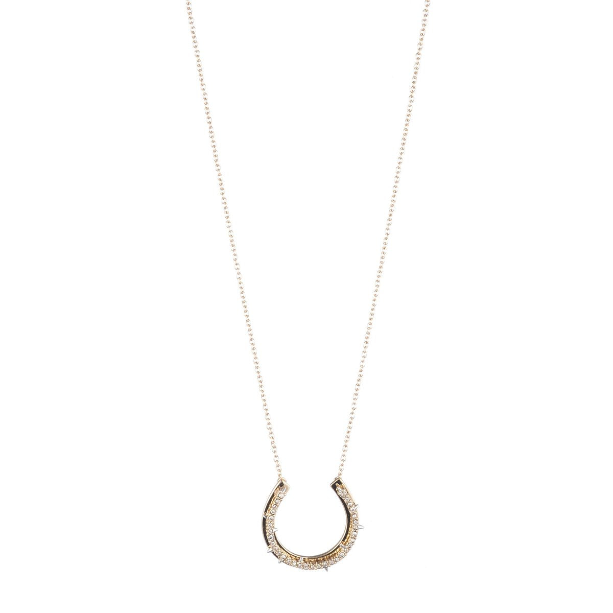 Crystal Encrusted Horseshoe  Pendant Necklace