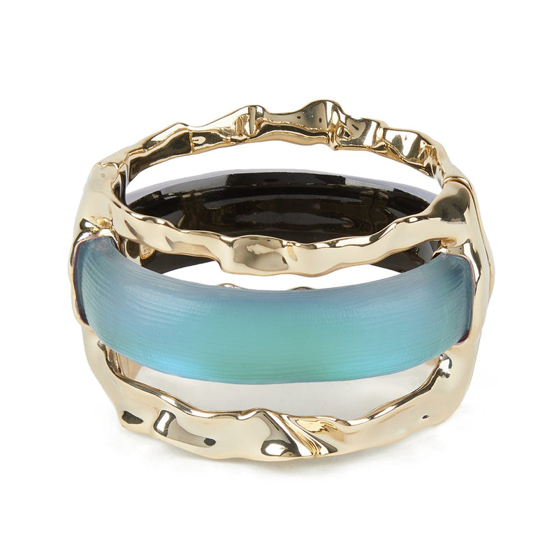 Crumpled Metal Stacked Hinge Bracelet