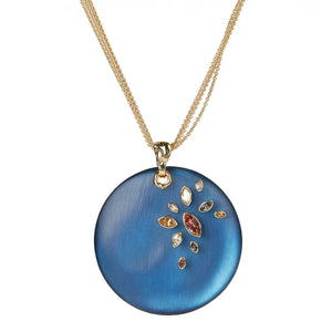 Navette Crystal Large Disc Pendant Necklace
