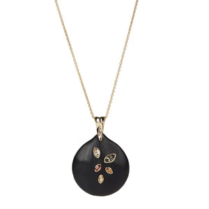 Navette Crystal Long Disc Pendant Necklace