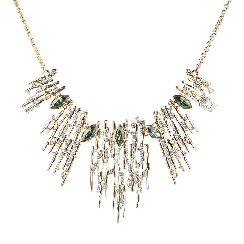 Navette Crystal Spiked Bib Necklace