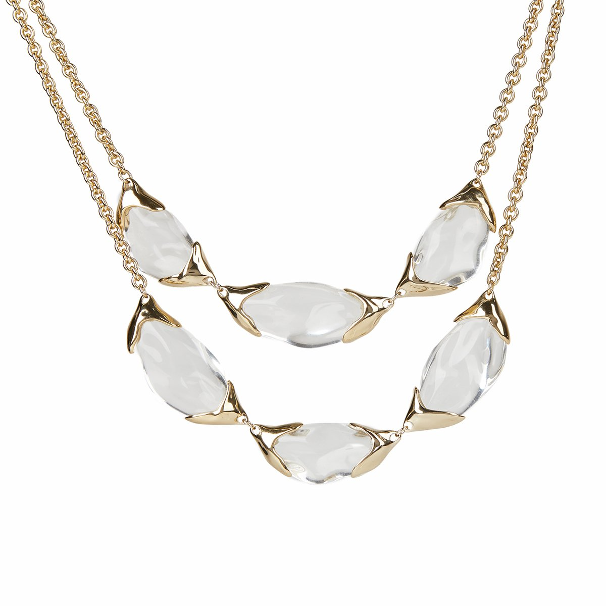 Encased Pebble Double Strand Bib Necklace