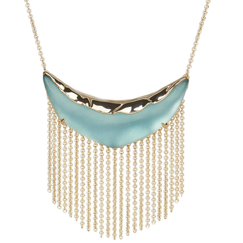 Crumpled Metal Fringed Bib Pendant Necklace