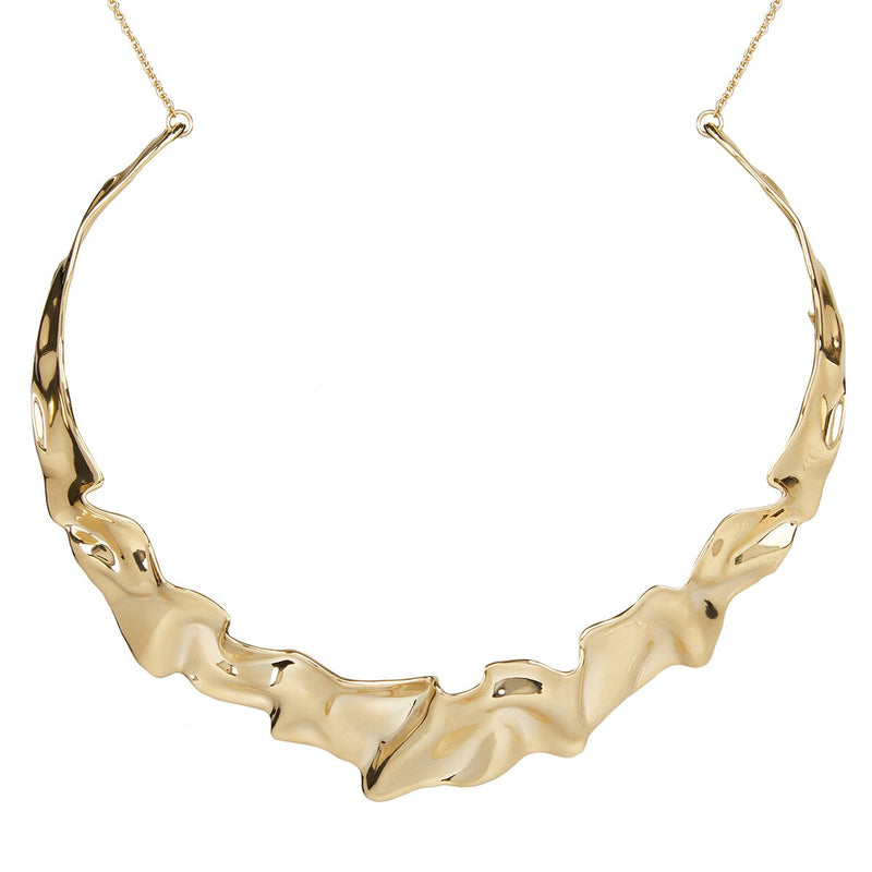 Crumpled Metal Collar Necklace