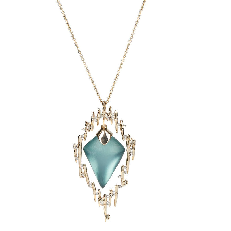 Navette Crystal Spiked Framed Long Pendant Necklace