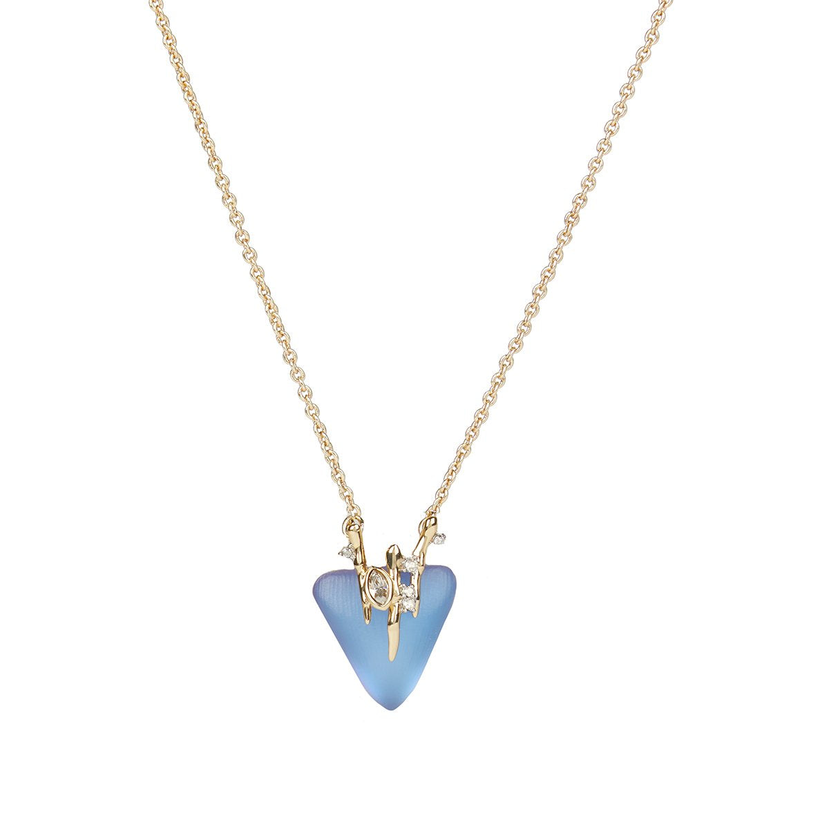 Navette Crystal Triangle Pendant Necklace