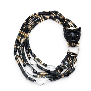 Crystal Encrusted Multi-Strand Panther Necklace