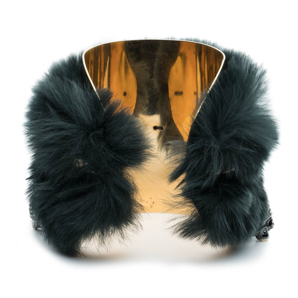 Charm Cuff Bracelet with Fur Detail