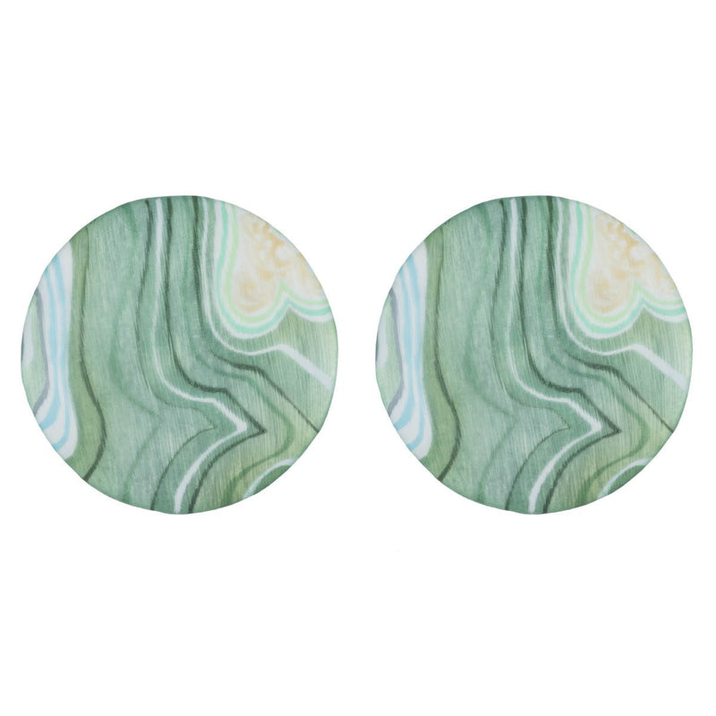 Large Agate Lucite Ellipse Clip Earring