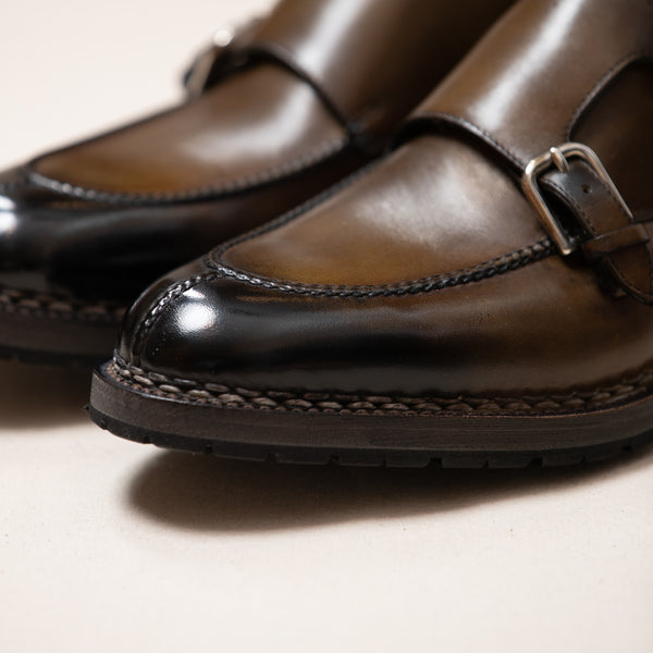 Leather Handcrafted Monk Strap Lug Sole Shoe
