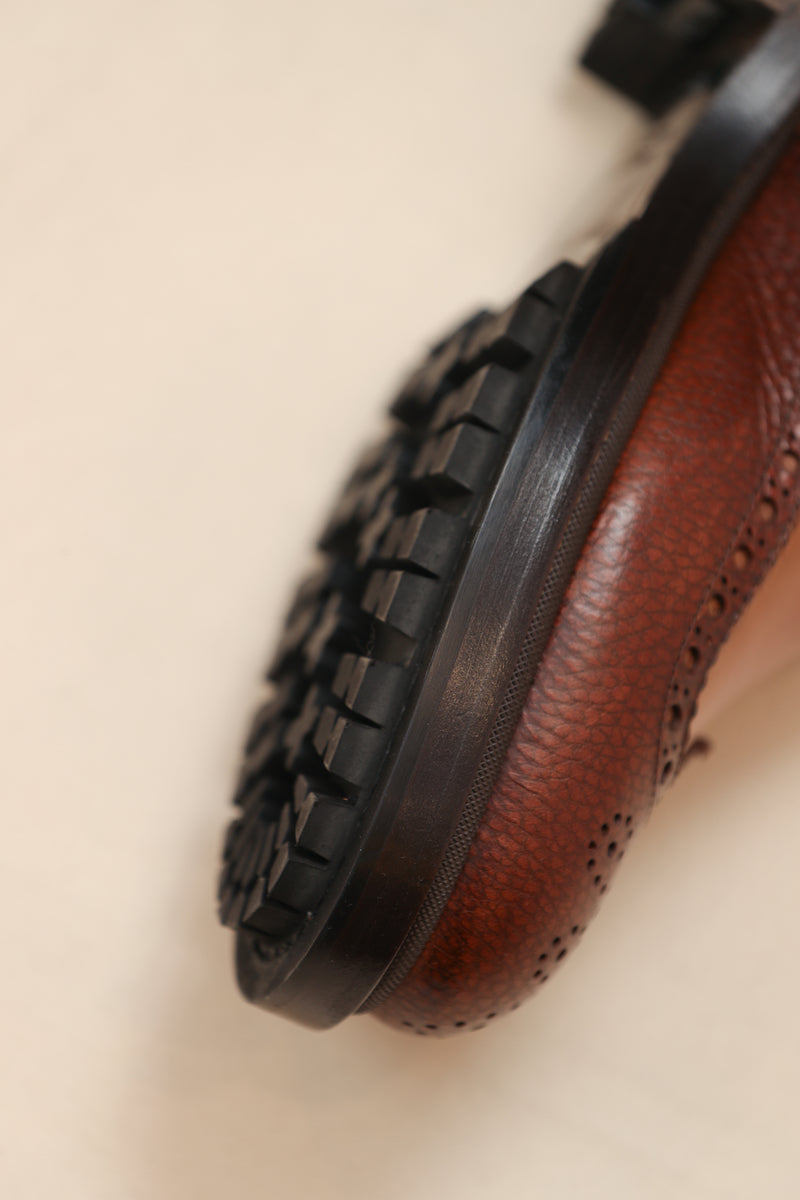 Leather Wingtip Lug Sole Boot