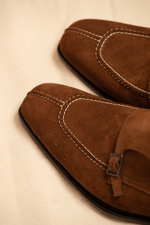 Suede Handcrafted Split Toe Double Monk Shoe