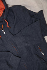 Zip Hooded Two Tone Sweatshirt