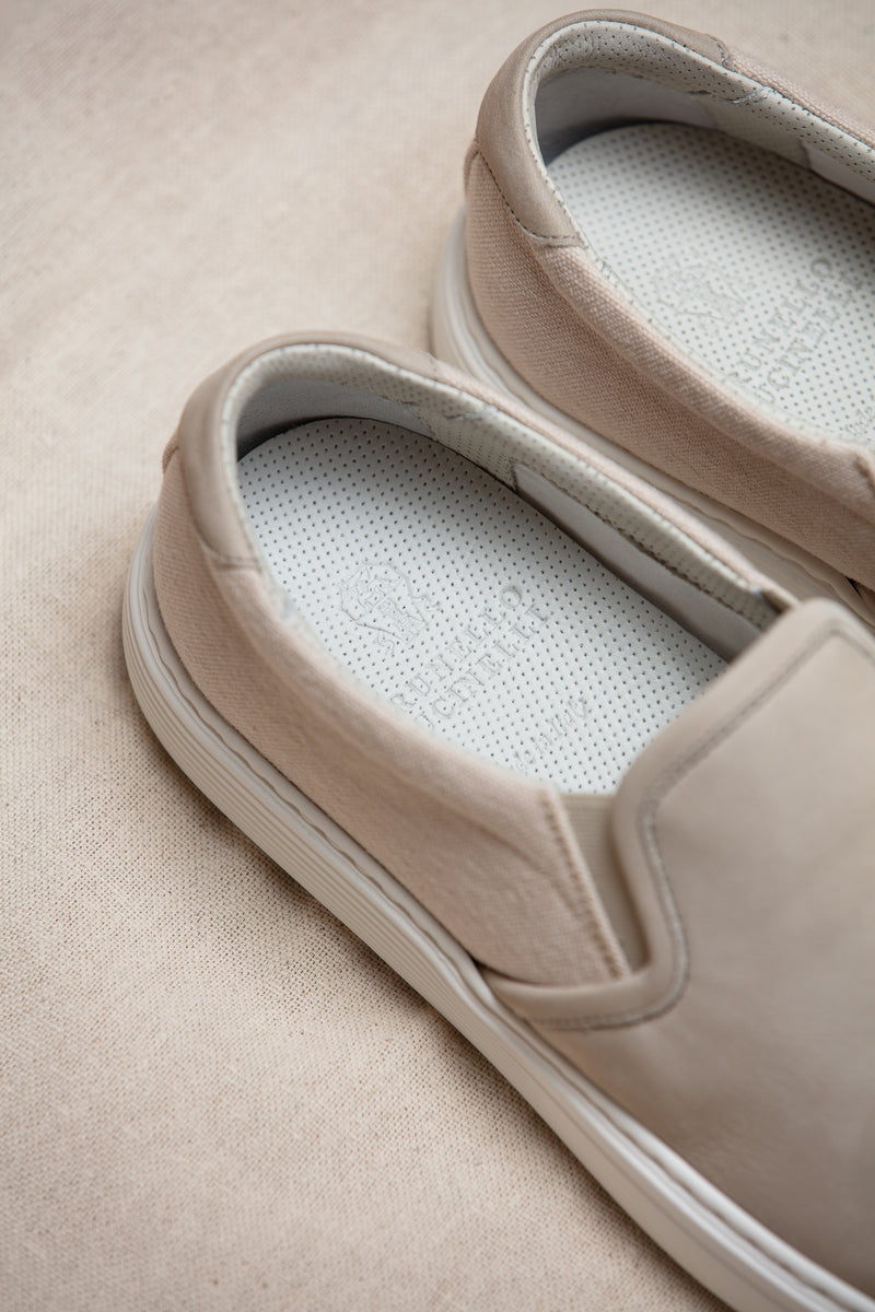 Nubuck & Canvas Slip-On Sneaker