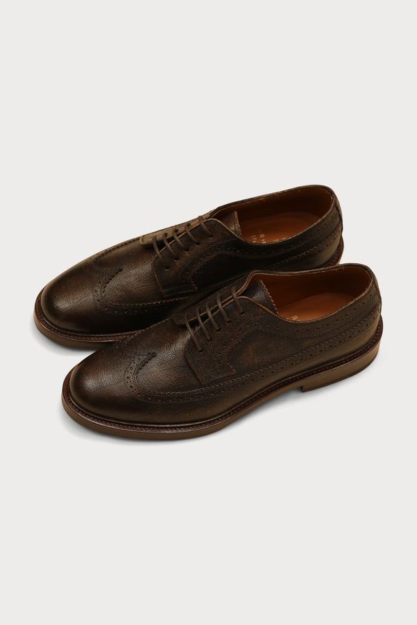 Leather Wingtip Derby Shoe