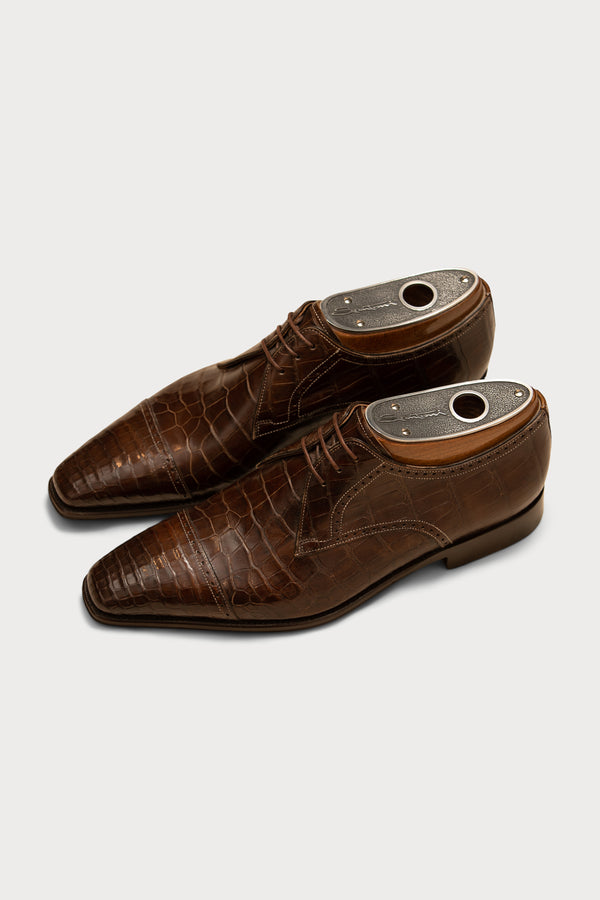 Crocodile Handmade Cap Toe Derby Shoe