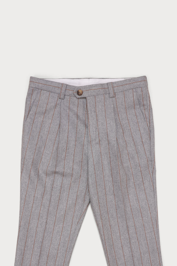 Wool Flannel Pleated Trouser