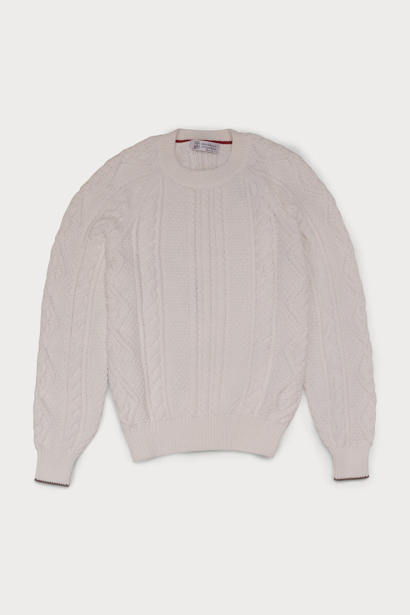Cotton Cable Knit Crew-neck Sweater