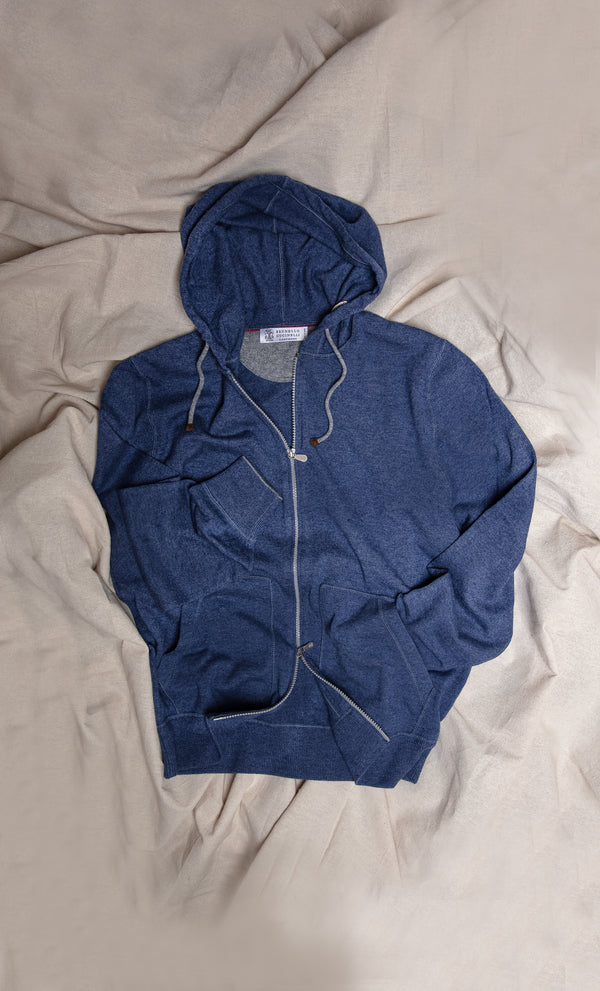 Cashmere Zip Hooded Sweatshirt