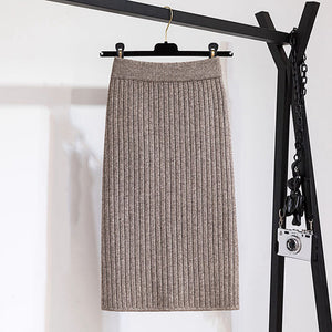 Fashion solid color back slit knit skirt RS002