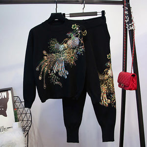 Women's Casual Embroidered Sequined Sweatshirt Set BJ108