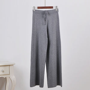 Drawstring solid color knitted wool pants