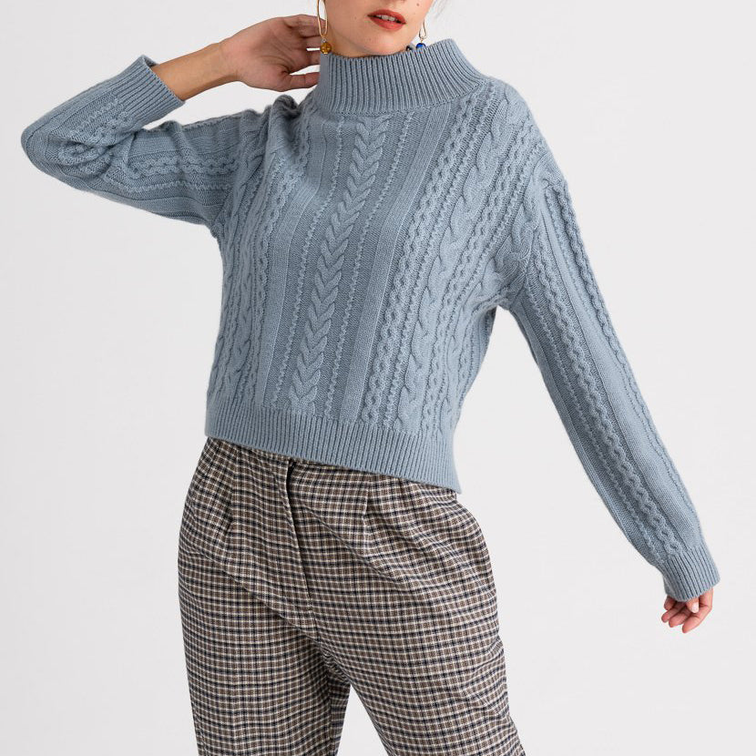 Ladies Pure Blue Fashion Simple Knitwear YJ46
