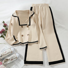Load image into Gallery viewer, Women's casual turndown collar pure color loose sweater suit
