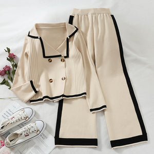 Women's casual turndown collar pure color loose sweater suit