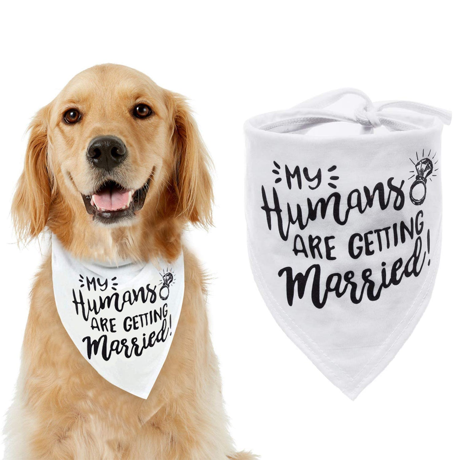 Wedding Pet Accessories//Bridal Shower//Engagement Dog Wedding Gifts Wedding Announcement Dog Adjustable Bibs or Scarf for Medium Or Large Dog Squeasys I Do Too Dog Pet Bandanas