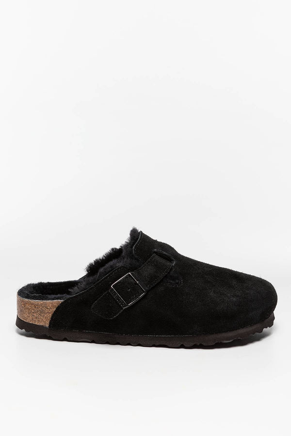 #00013  Birkenstock obuv, flip flopy Boston FUR VL 259883 Black