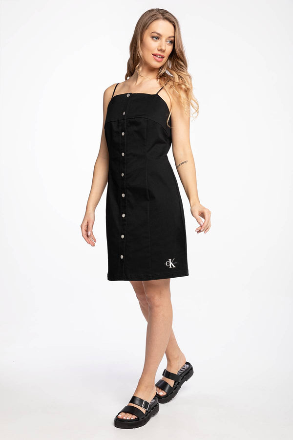 #00000  Calvin Klein oblečení, šaty SUKIENKA MIDI COTTON TWILL BUTTON DRESS J20J215673BEH BLACK