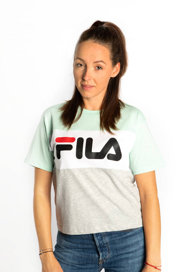 #00019  Fila tričko ALLISON TEE A205 LIGHT GREY MELANGE BROS/BRIGHT WHITE/MIST GREEN