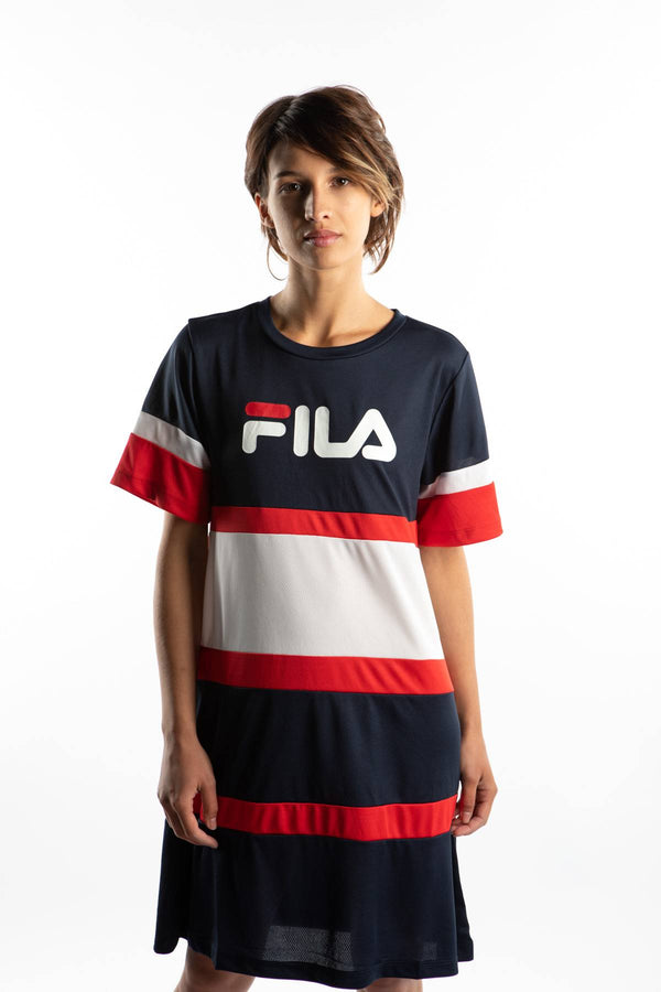 #00041  Fila oblečení, šaty TERHIKKA TEE DRESS K14 BLACK IRIS/BRIGHT WHITE/TRUE RED