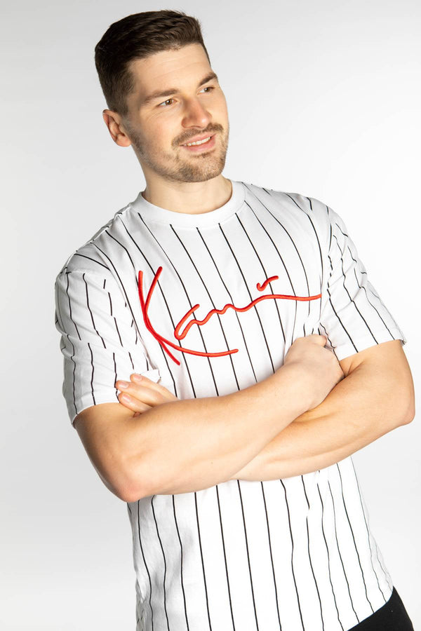 #00023  Karl Kani tričko SIGNATURE PINSTRIPE TEE 586 WHITE/BLACK/RED