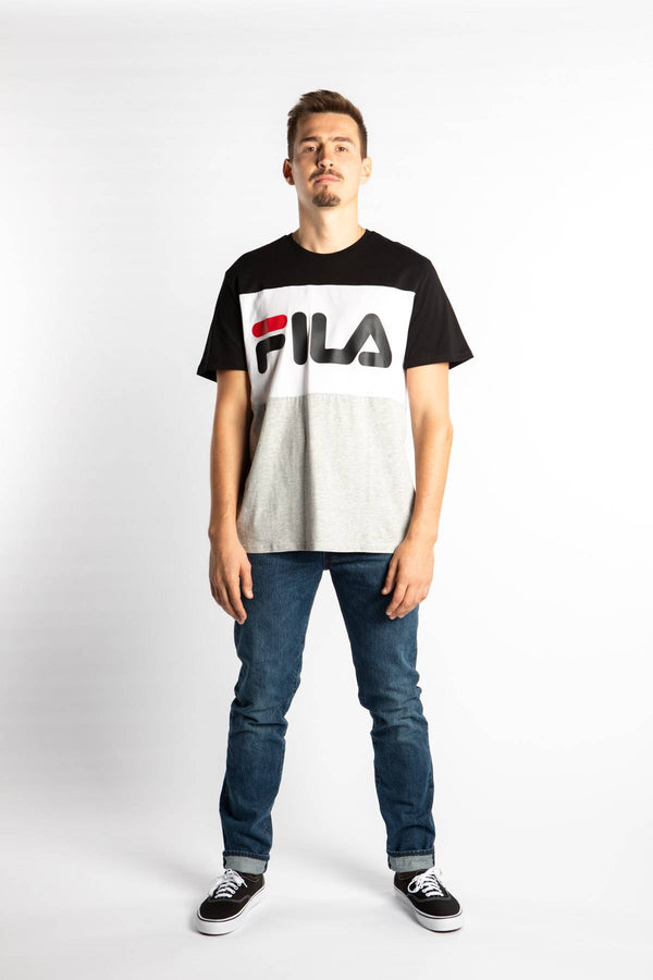 #00005  Fila tričko DAY TEE I85 BLACK/LIGHT GREY MELANGE BROS/BRIGHT WHITE