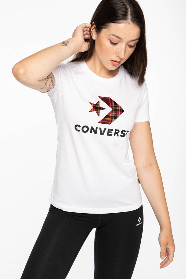 #00076  Converse tričko T-SHIRT 874 W Star Chevr.Plaid In Tee WHITE