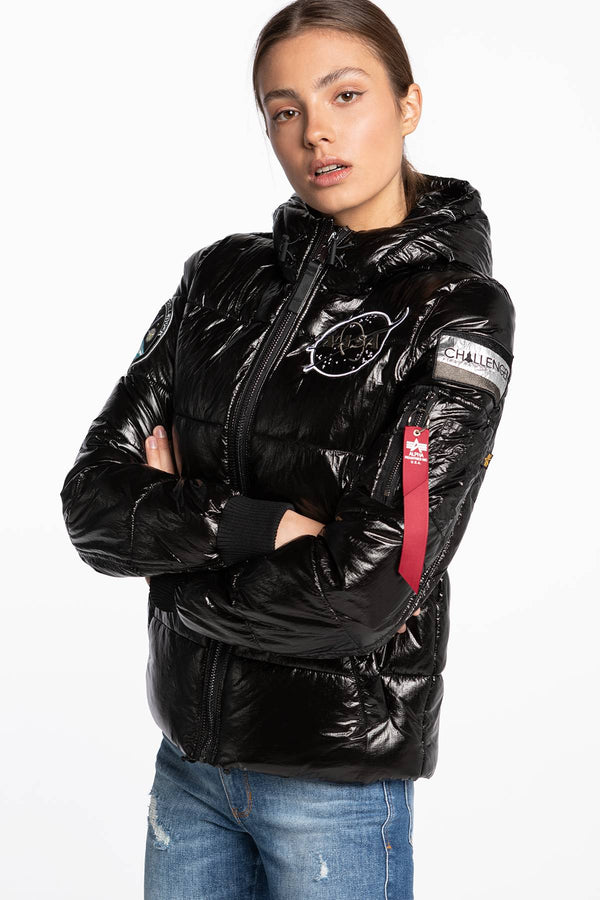 #00135  Alpha Industries oblečení, bunda Hooded Puffer NASA Wmn 128007-03 BLACK