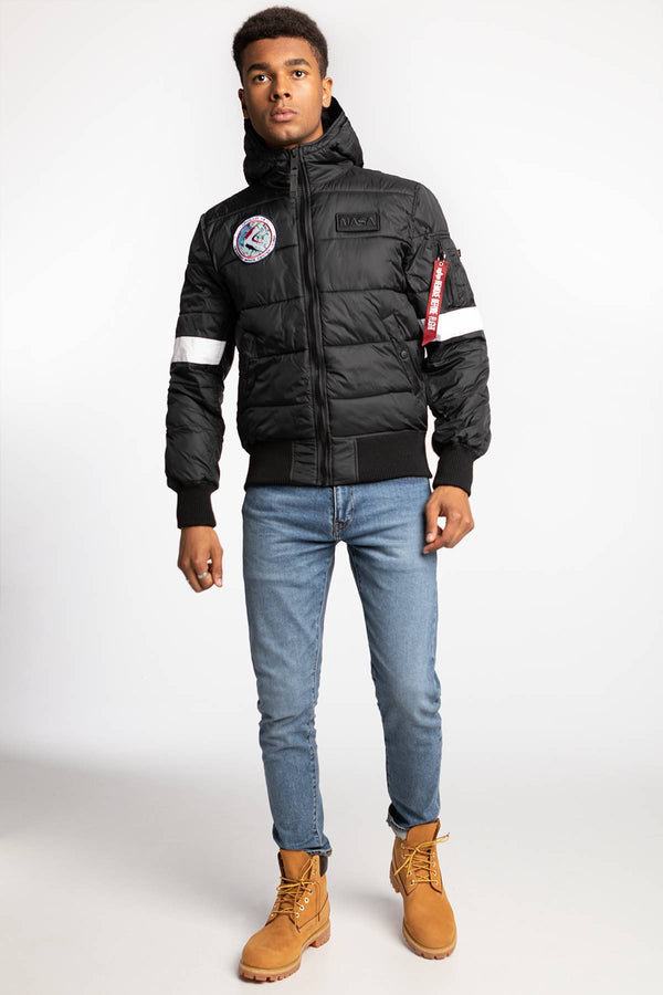 #00016  Alpha Industries oblečení, bunda Hooded Puffer FD NASA 121 BLACK