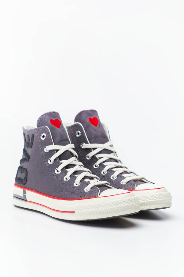 #00102  Converse obuv, tenisky LOVE FEARLESSLY CHUCK 70 HI 153 THUNDER GREY/UNIVERSITY RED