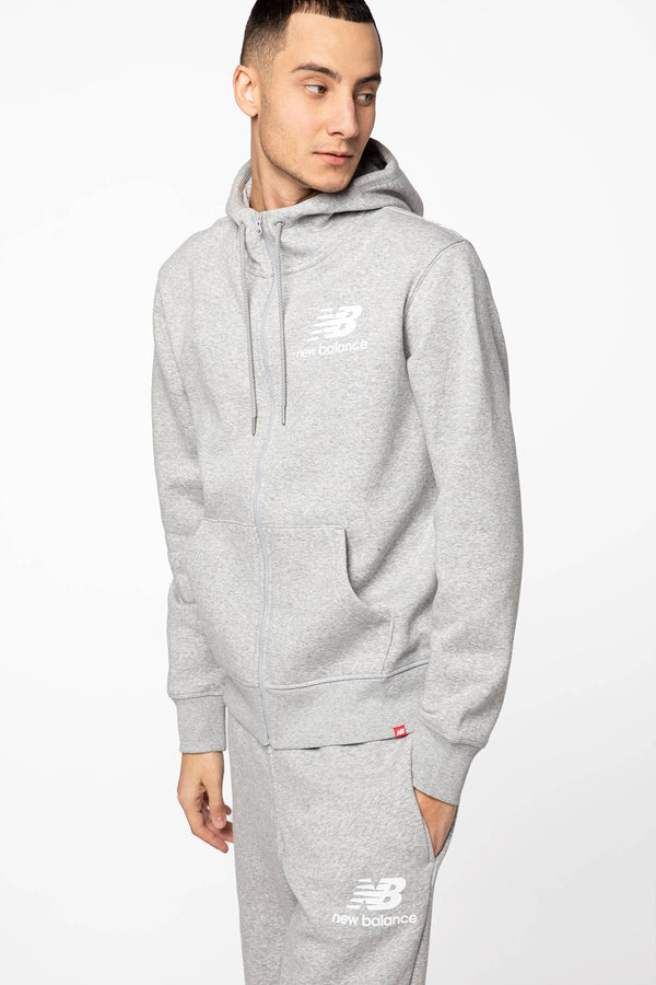 #00025  New Balance oblečení, mikina ESSENTIALS STACKED FULL ZIP HOODIE NBMJ03580AG GREY