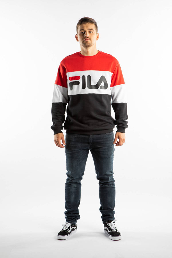 #00009  Fila oblečení, mikina STRAIGHT BLOCKED CREW A089 TRUE RED/BLACK/BRIGHT WHITE